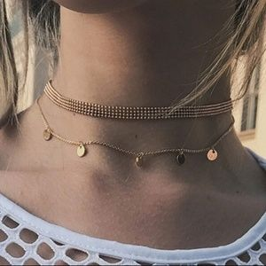 4/$25 Layered Gold Sequin Coin Choker Necklace